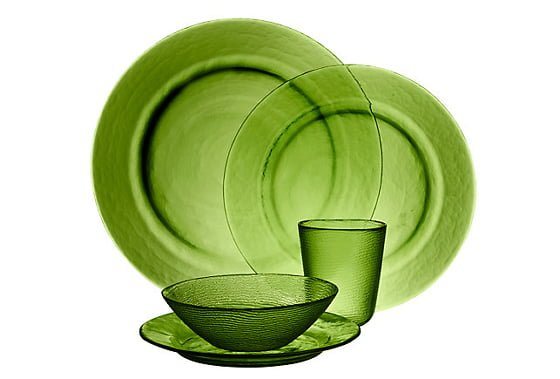 John Lewis Botanical Brights La Selva Textured Glass Tableware plates, bowl and tumbler in green