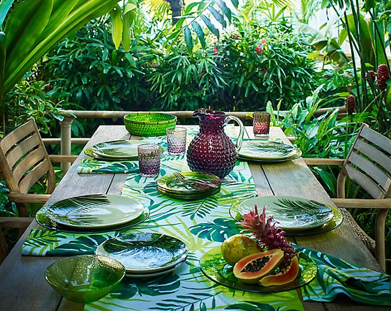 Colourful outdoor tableware in tropical setting with leaf patterned plates and pink glass jug & Colourful outdoor tableware - the Botanical Brights Edit from John ...