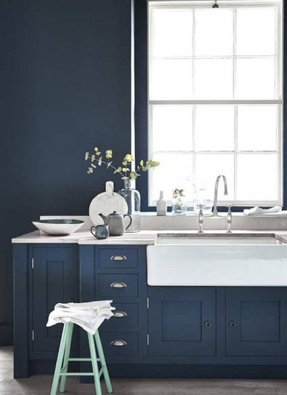 Little Greene Hick's Blue kitchen