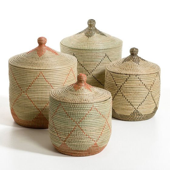 Alibaba-style Louna Rice Straw decorative storage baskets with lids