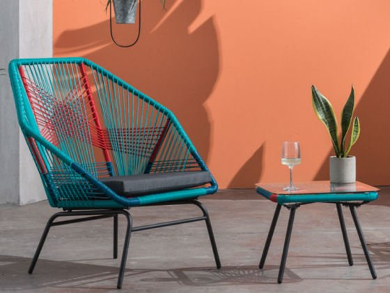 MADE Copa colourful garden furniture, Copa multicoloured garden chair and low table