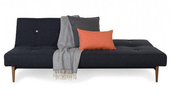 Dark grey Heal's Knap Sofa Bed with back half reclined and grey blanket and cushions