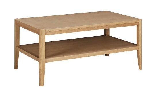 Jakob contemporary oak coffee table with storage shelf