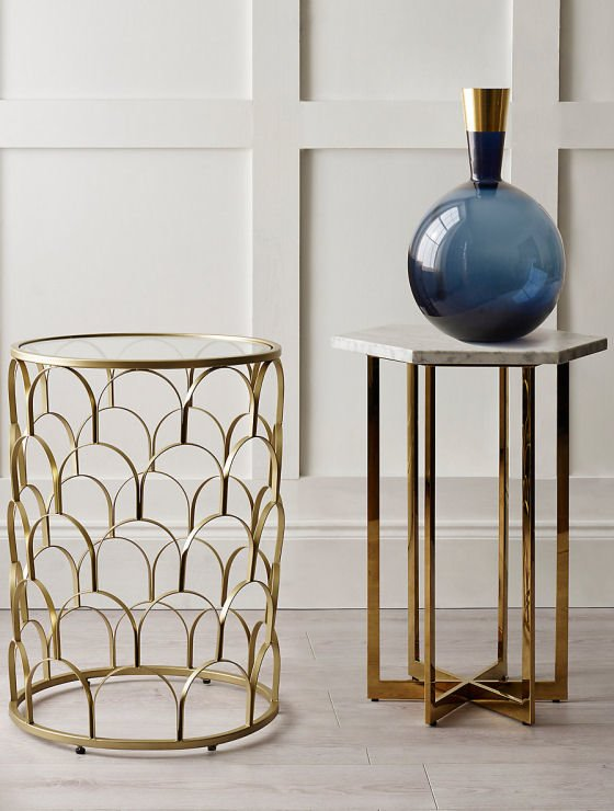 metallic side tables for small spaces