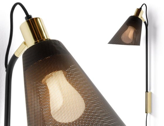 Close up detail of Memoir Lighting  Collection showing black mesh shade and polished brass fittings