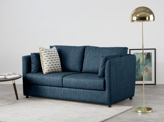 Milner contemporary sofa bed for small spaces in blue with foam or memory foam mattress