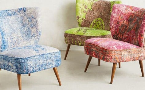 Coloured velvet Moresaue chairs by Anthropologie
