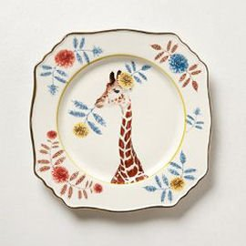 Square vintage china plate with giraffe and floral border by Anthropologie