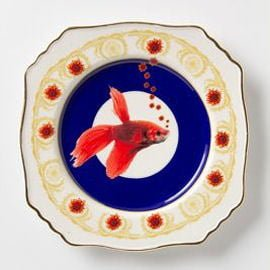 Vintage plate with goldfish design by Lou Rota for Anthropologie