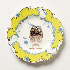Anthropologie Nature Table Plate with Owl and yellow border