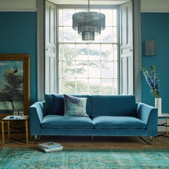 Graham and Green blue sofas in contemporary room setting