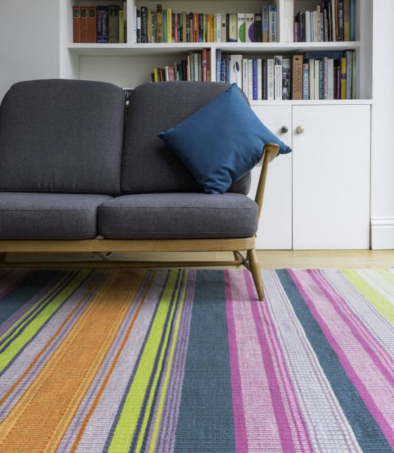 Colourful striped handwoven rug by Angie Parker Textiles