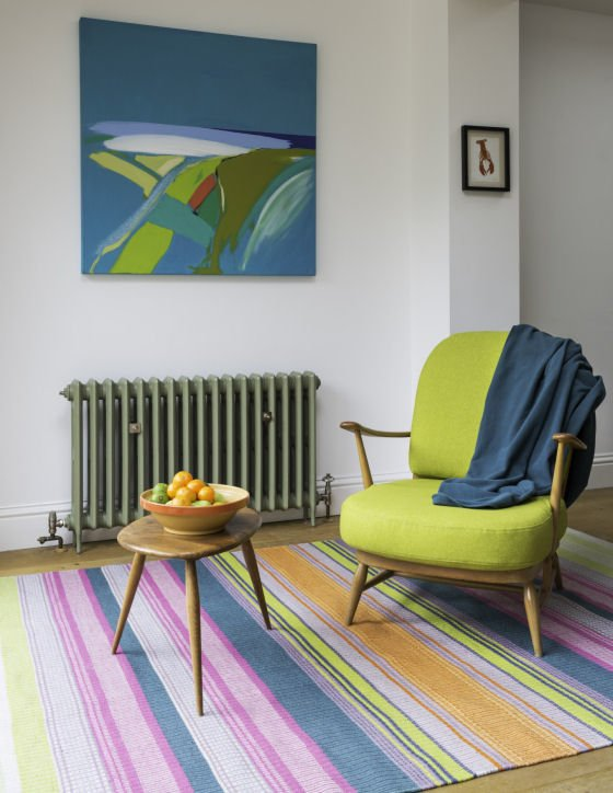 Handwoven indoor/outdoor rug made from recycled plastic bottles by Angie Parker Textiles