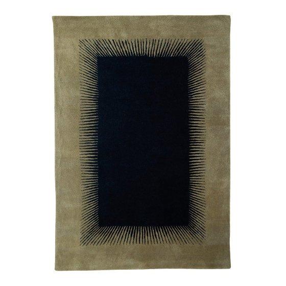 Niki Jones Optical Rug with central black motif blending into grey/brown border