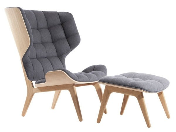 NOR11 Mammoth wingback contemporary armchair and footstool