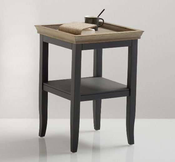 Nottingham solid pine painted side table with storage shelf for small spaces