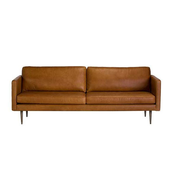 Orson mid century style leather sofa with metal legs