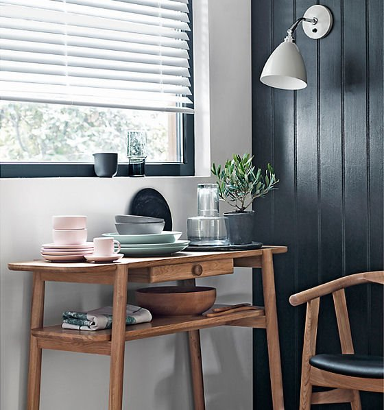 John Lewis Design Project solid oak console table with storage No 022