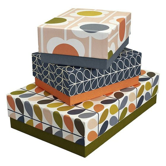 Decorative home storage boxes by Orla Kiely in multicoloured graphic patterns