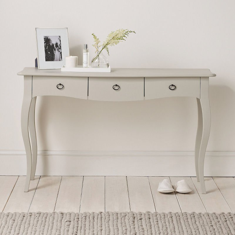 The White Company Provence Console Table with drawers in grey with brass handles