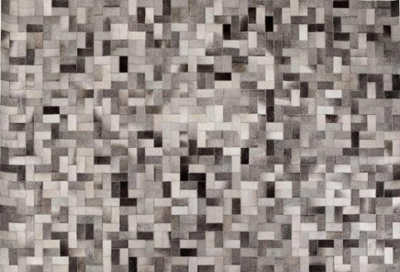 Parquet Cowhide Rug in grey shades