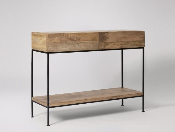 Pascal industrial style console tables with storage for small tables - Swoon Editions
