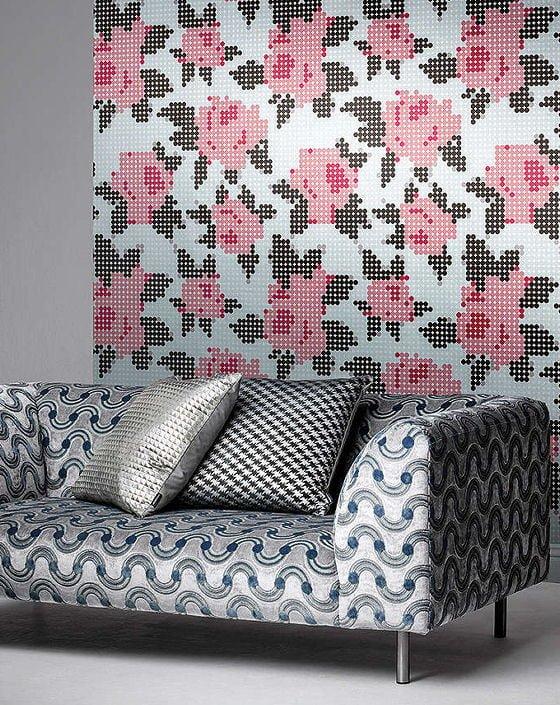 Kirkby Design wallpaper Peg Art Roses. Modern floral wallpaper in collaboration with Eley Kishimoto