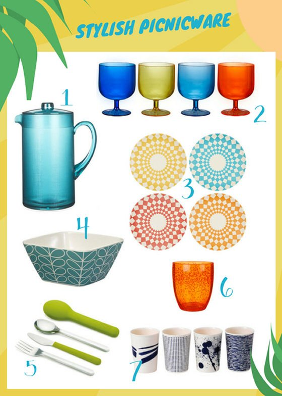 Colourful John Lewis picnicware range with bamboo picnicware, stacking glasses and melamine cups