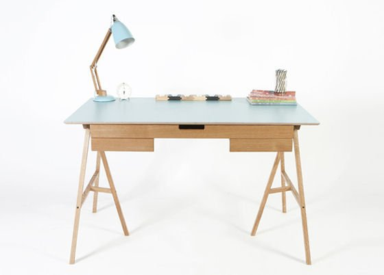 Contemporary home desk with drawers