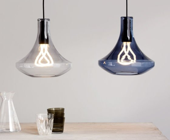 The Plume Pendant Lamps in clear or blue glass by MADE are the perfect partner for the Plumen designer energy-saving bulb #Plumenbulb #Plumenshade #glasspendantlight