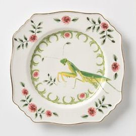 Vintage china plate with praying mantis and floral motifs