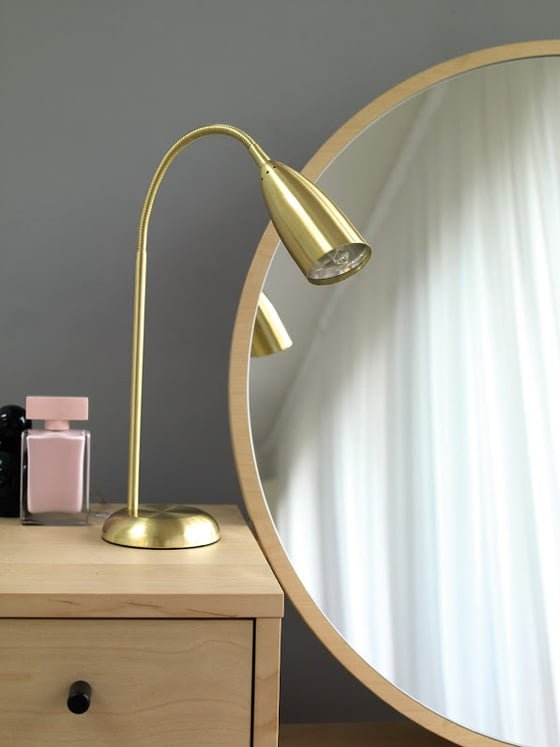 Emil Dressing Table detail with brass lamp