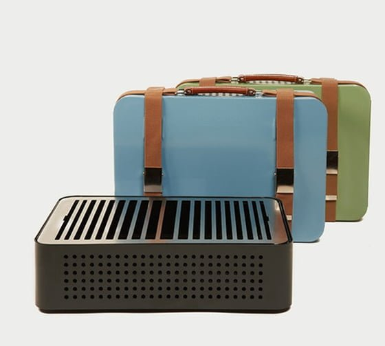RS Barcelona Mon Oncle portable barbecues in black, blue and green colourways