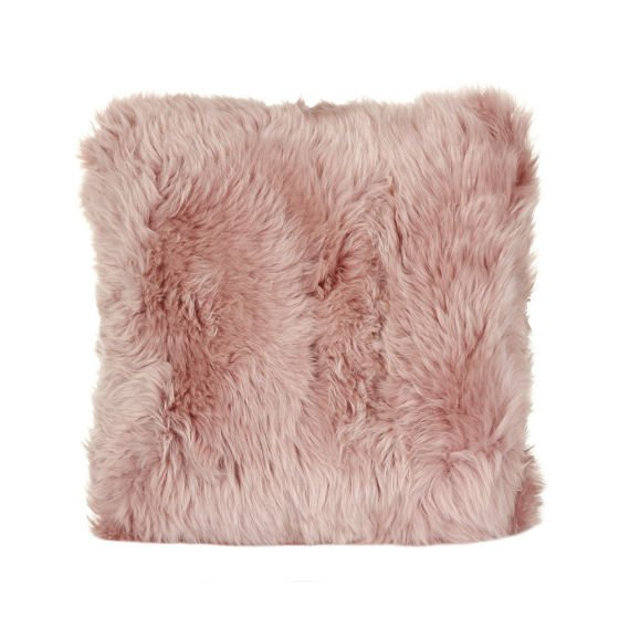 Rose pink sheepskin cushion by A by Amara
