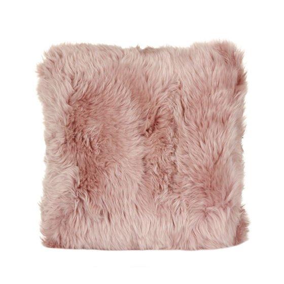 Rose pink sheepskin cushion by A by Amara