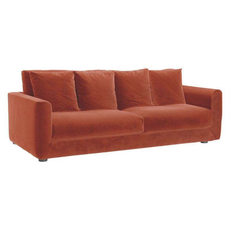 Habitat Rupert orange velvet sofa bed