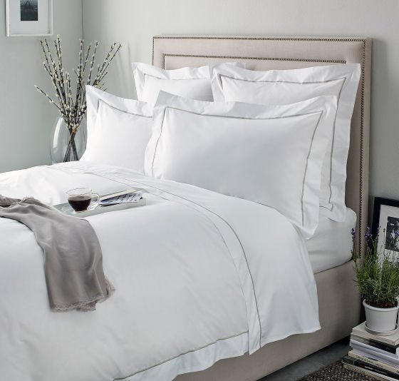 The White Company Savoy luxury summer bedlinen, 400 thread count white cotton bedding
