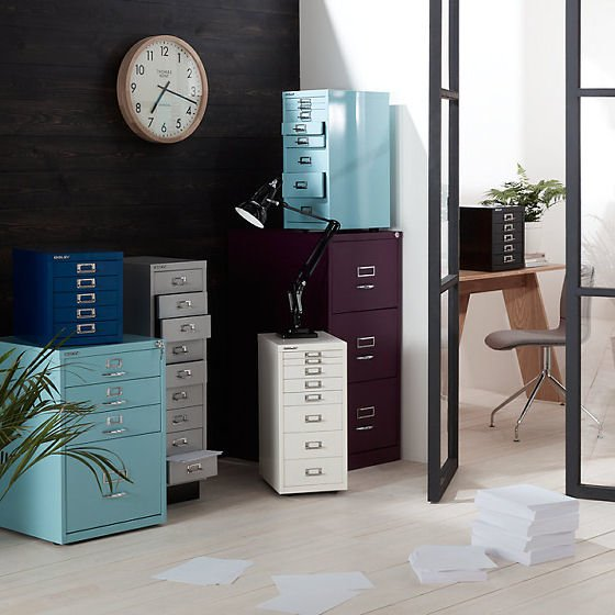 Bisley Office Storage Units in Blue, Grey and White for smart home office storage solutions