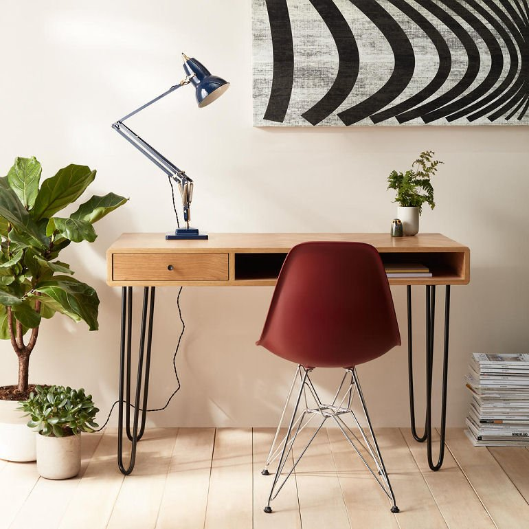 John Lewis Hairpin Desk for small spaces with anglepoise lamp and Eames chair
