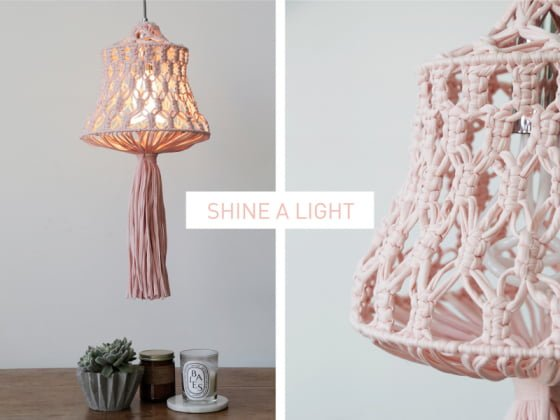 Shine a Light Pink Macrame Lampshade Kit from Wool and the Gang