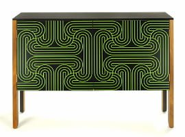 Contemporary Low Wooden Loop Cabinet with intricate green inlay detail