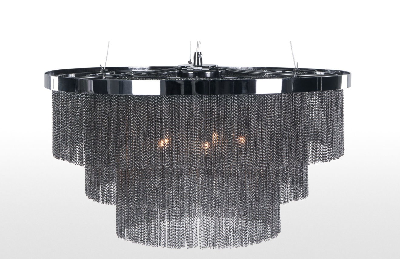 The Silvia contemporary fringed chandelier in black and chrome has been scaled down for smaller spaces and given an edgy, contemporary twist with its fringing of fine metal chain #contemporarylighting #modernchandeliers