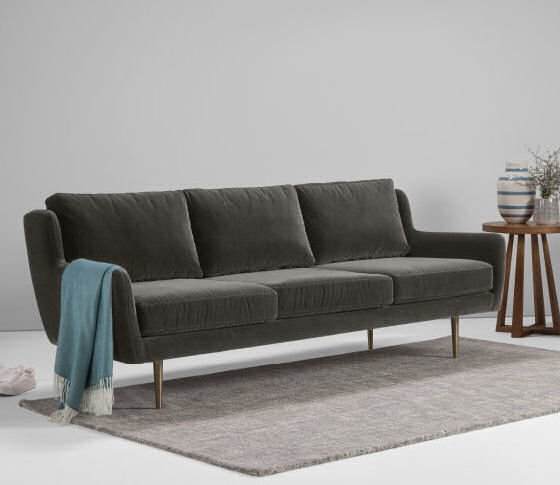 Grey velour sofa for Velour divan beds