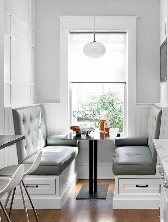 Kitchen banquette seating with storage for small spaces