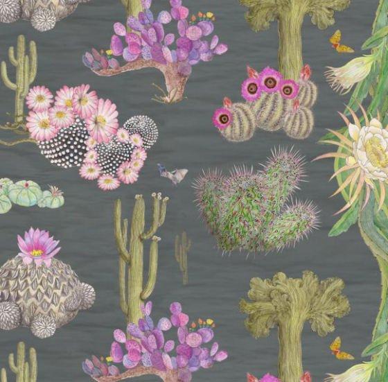 Newton Paisley Cactus Mexicanos linen fabric - grey