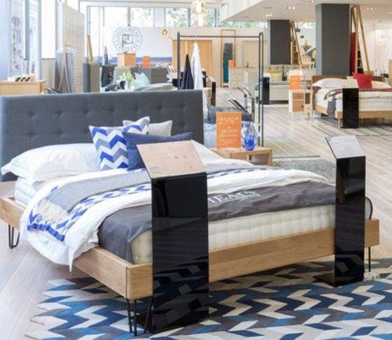 Brunel bedframe, matress and bedlinen in new Heal's Sleep Studio