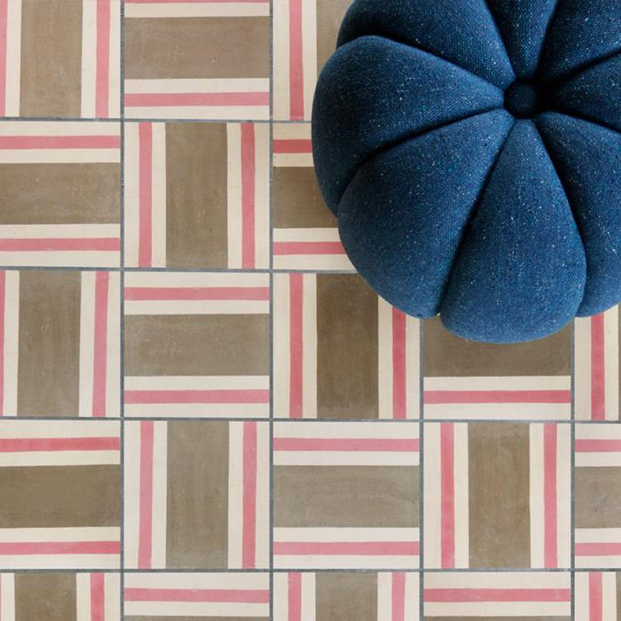 Bert & May X Soho Home tile collection: Soho Dean Street geometric tile in pink, brown and white