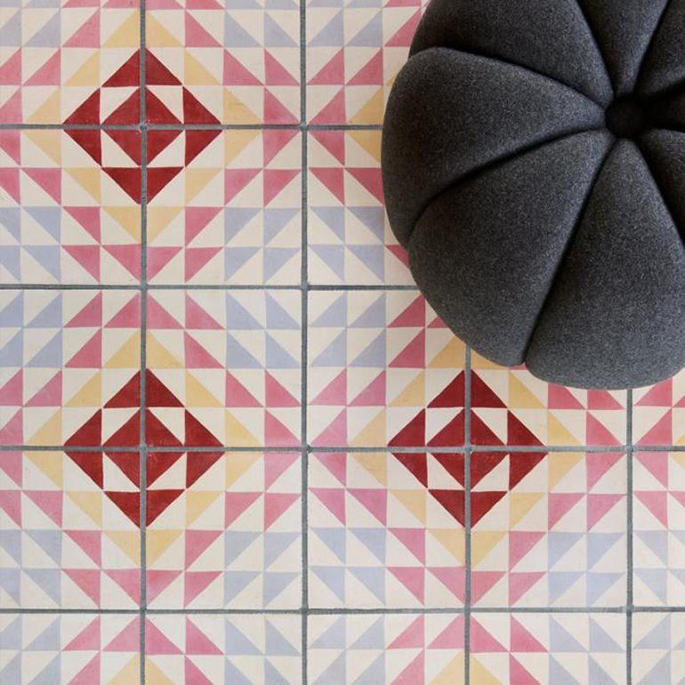 Bert & May X Soho Home collection: Soho Berlin geometric patterned tile in blue, yellow, pink and red