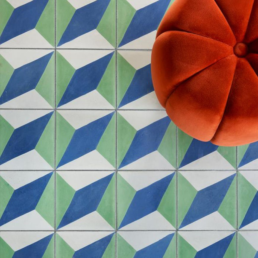 Bert & May X Soho Home Soho Redchurch Street geometric patterned tile in blue and green