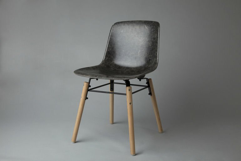 Solidwool Hembury chair in grey with solid ash legs and black frame